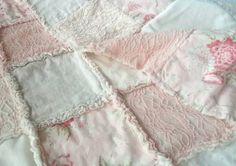 Girls Baby Quilt Pink and Cream Rag Quilt  by EllieGraceCreations
