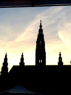 Silhouette of the Vienna City Hall Vienna, Big Ben, Statue Of Liberty, Places Ive Been, Faces, Silhouette, City, Building, Pictures