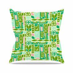 """Amy Reber """"Maze"""" Green Vector Outdoor Throw Pillow"""