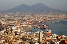 Photo about Beautiful aerial view of italian city Naples with Mount Vesuvius in background. Image of boat, history, aerial - 11528705 Places Around The World, Around The Worlds, Places To Travel, Places To Visit, Places In Italy, Naples Italy, Great Hotel, Top Destinations, Most Beautiful Cities