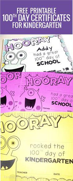 free printable day of school certificates for kindergarten Monster Classroom, Classroom Fun, Future Classroom, Teaching Class, Student Teaching, Teaching Ideas, Kindergarten Teachers, Kindergarten Classroom, School Items