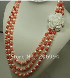 Fabriek prijs mooie 3 rijen rode koraal parel bloem ketting slotje parel sieraden mode-sieraden