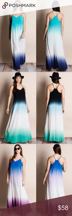 Dip Dye Ombré Maxi Dress Dip dye ombré maxi dress. Available in black-jade, coral-magenta, royal blue-purple, teal-navy. This listing is for TEAL-NAVY. This is an ACTUAL PIC of the item - all photography done personally by me. True to size. Adjustable straps. Brand new with tags. NO TRADES DO NOT BOTHER ASKING. Bare Anthology Dresses Maxi