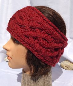 Red Headband Red Ear Warmer Knitted Head Warmer Cabled by djfleesh