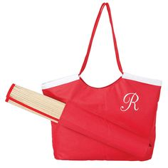 """Size: 21.5"""" W x 15"""" H x 6.75"""" D Beach Tote & Mat. Beach tote & straw mat that stows on the outside of the tote."""
