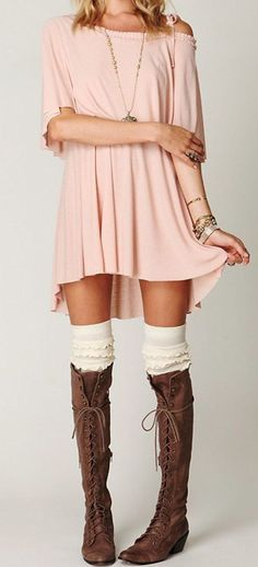 Knee high socks and Knee high lace up boots - dress 2014.....