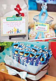 Babys One Month Sesame Street Party Dessert Table