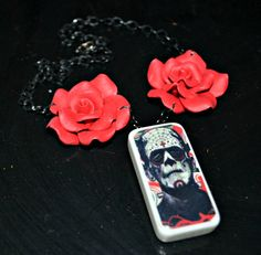 frankenstein day of the dead roses domino necklace by girlzombie, $33.00