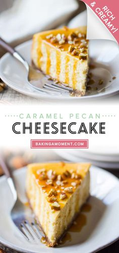 Caramel Pecan Cheesecake: so creamy and rich, with the most incredible nutty, caramel flavor! #caramelpecancheesecake #caramel #pecan #cheesecake #pecancheesecake #butter #carmel #recipes #pie #crust #praline #easy #saltedcaramel #topping #easycaramel #bakingamoment Pecan Cheesecake, Cheesecake Recipes, Easy Recipes, Easy Meals, Cupcakes Design, Good Food, Yummy Food, Caramel Pecan