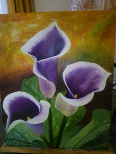 Canvas Painting Tutorials, Diy Canvas Art, Acrylic Painting Canvas, Art Floral, Lilly Plants, Flower Line Drawings, Lily Painting, Calla, Wow Art