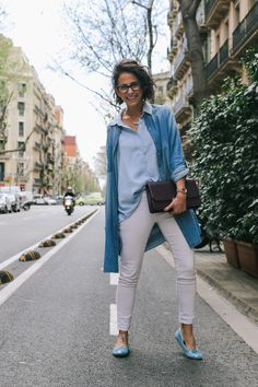 Denim and White Look. Chanel Ballerinas - style in lima