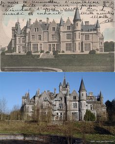 Rear view of the castle on a postcard Rear of Chateau de Miranda, then (1902) prior to construction of the main (clock) tower, & now.  Also note the addition of the fire escapes, likely added when the Belgium Railway used the chateau as a type of country resort for children of their employees.