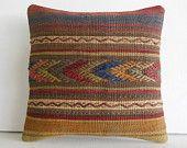 "16""brown striped arrow Handwoven Kilim Pillow Throw Pillow kilim cushion cover decorative throw pillow turkish pillow kilim rug pillow case"