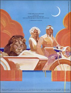 Put a Lion in Your Rumble Seat, 1970    Doug Johnson illustration for DeBeers Diamonds  DIAMONDS ARE FOREVER