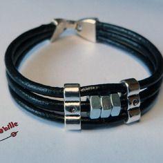 Bracelet homme, cuir noir, métal argenté, écrous argenté