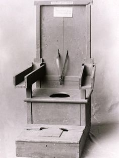 """oldmissbunny: """"ghostintheashes: """" This chair was used to control violent patients at the New York State asylum in the early century. An unruly patient's arms were strapped into the wooded wells, feet secured to the floor, and a belt tied around. Mental Asylum, Insane Asylum, Pena Capital, Psychiatric Hospital, Abandoned Asylums, Mental Disorders, Medical History, Rare Photos, Mental Illness"""