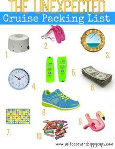 "Cruise Packing List of Unexpected Items. Look like a cruising pro and make everyone say ""why didn't I think of that?"""