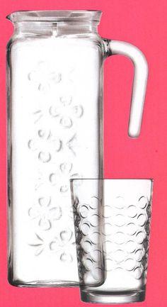 Lav 7 Piece Drinkware Set 1 Glass Fridge Jug & 6 Tumblers  in Gift Box #Lav