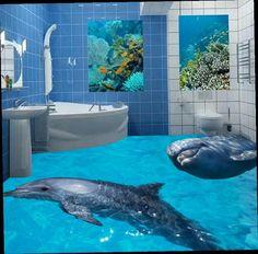 52.98$  Buy now - http://alixtl.worldwells.pw/go.php?t=32680069513 - Custom 3d floor murals 3d photo dolphin floor waterproof self-adhesive 3D PVC vinyl floor wallpaper