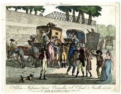 A.Martinet, Caricatures Parisienne Plate 26 of an untitled series: a terminus with coaches loading and unloading passsengers. c.1801 Hand-coloured etching