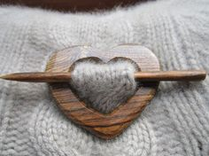 Wooden Heart Shawl Pin - Handmade Wooden Shawl Pin - Reclaimed Wood - Eco Knitting Supplies