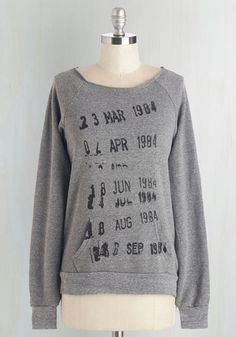 Check It Out Sweatshirt. This grey sweatshirt by Out of Print gets our stamp of approval! #grey #modcloth
