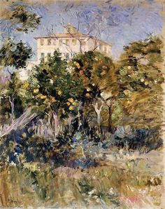 Villa à l'orange Arbres , Agréable, huile sur toile de Berthe Morisot (1841-1895, France)