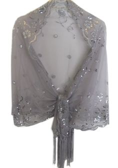 Sheer Flower Swirl Sequin Fringed Evening Wrap Shawl For Prom Wedding Formal Silver Delights