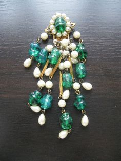 Vintage 50s french green molded poured glasses tassel dress clip Brooch