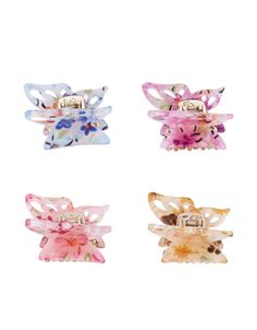 4x Floral Butterfly Bulldog Hair Clips