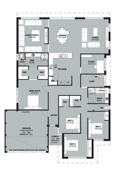 Large yet compact one storey house plan- not sure about dragging guests through kitchen to reach living room.
