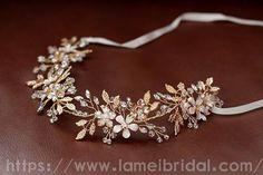 Silver and Gold crystal flower hair vine Bridal Hair