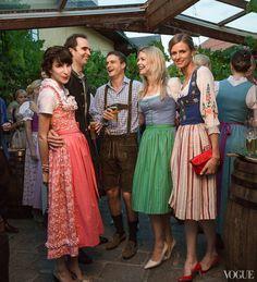 """The dress code was """"tracht"""": dirndls for girls, lederhosen for boys. From left: Sieber, von Westenholz, Arthur Wellesley, Earl of Mornington, Jemma Kidd, and Jacquetta Wheeler."""