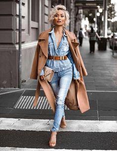 Denim on denim 2018 perks strój, dżinsy, moda Denim Fashion, Look Fashion, Fashion Outfits, Womens Fashion, Fashion Trends, Denim Outfits, Ladies Fashion, Fashion Ideas, Fashion Today