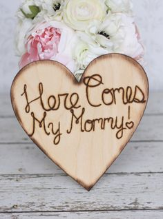 Rustic Wedding Sign Here Comes My Mommy item by braggingbags, $27.50