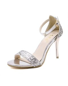 Silver Elegant Sequins Open-Toe Ankle Strap High Heels
