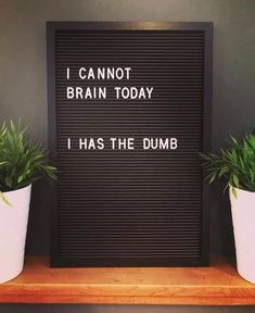 Just too freakin' tired to brain today. Credit ✍🏻 : a mug. Word Board, Quote Board, Message Board, Work Quotes, Quotes To Live By, Life Quotes, Just Smile Quotes, Today Quotes, Best Quotes