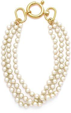 Fallon Classique Triple Gold Pearl Necklace