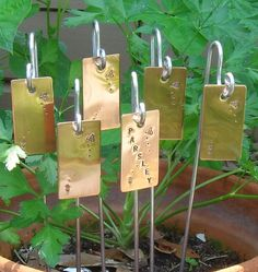Garden Markers / Plant Stakes - Copper - Busy Bee Motif - Set Of Six - CUSTOM Hand Stamped
