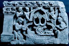 Adoration of symbol of Triratna, relief from Jamalgarhi, Pakistan, Indian Civilization, Gandhara period, 1st century BC-6th century AD