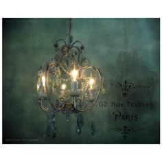 Paris Chandelier Photography, Sparkling Crystal Teal Chandelier, Paris... ($20) ❤ liked on Polyvore featuring teal home accessories, paris home decor, teal wall art, photo wall art and teal home decor