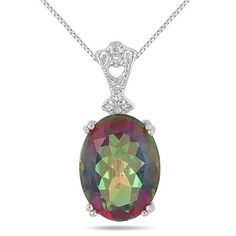 10 Carat Oval Mystic Rainbow Topaz and Diamond Heart Engraved Pendant in .925 Sterling Silver