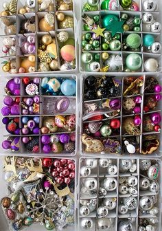 www.rosenotes.com  Great resource for vintage holiday ornaments!!! Bebe'!!! Love these ornaments divided into same shade box to make it easy to do an ombre tree!!!