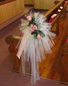 Tulle pew bows church wedding decorations wedding pinterest tulle bow tutorial find thousands of ideas for your wedding including church decor junglespirit Choice Image