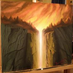 Oil landscape abstract painting