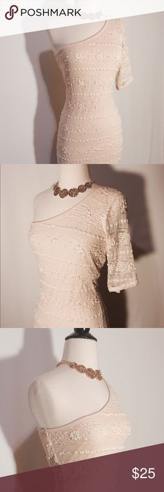 ✨ Sexy Cream Stretch Lace One shoulder Dress Sexy! Body conscious one shoulder stretch lace dress. Fully lined. Dresses One Shoulder