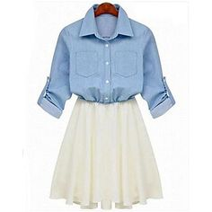 1/2 Sleeve Verão Chiffon Stiching cintura elástica Mini Vestido das mulheres - BRL R$ 98,21