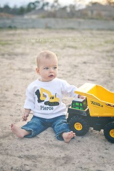 Boys Monogrammed Birthday Shirt, Digger, Excavator, Boys Birthday Shirt, Digger Shirt on Etsy, $24.00