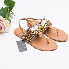 SALE! 🎉HP🎉Boho Slingback Sandal. Step out in warm-weather style with these relaxed Black Rivet slingback sandals. Designed with a boho-inspired pattern, they are easy to slip on for casual parties and lazy summer days. Brand New with tag. Multi-Colored. Wilsons Leather Shoes Sandals