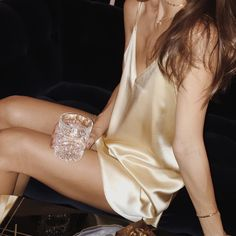 All gold everything  by @rumineely​ Crystal tumbler glass : HERE Slip dress : HERE Gold bangle : HERE